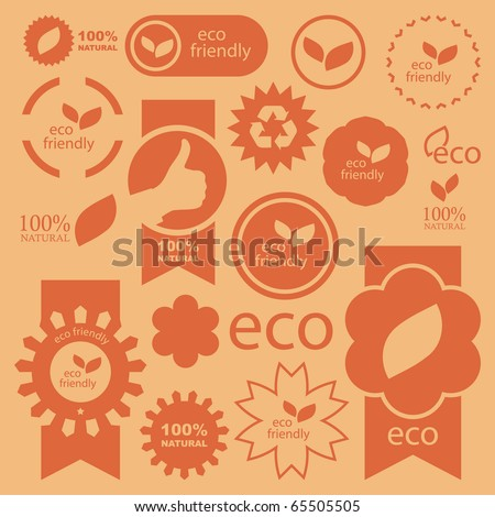 Set of eco friendly, natural and organic signs. - stock vector
