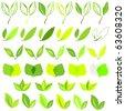 Set of eco green leaf design vector - stock vector