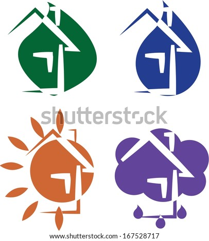 Set of 4 eco house icons