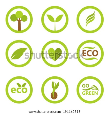 Set of eco icons and symbols with leaves and plants. Vector illustration - stock vector