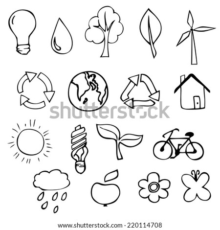 Set of eco icons, hand drawn sketch vector illustration - stock vector