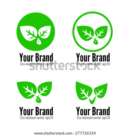 Set of eco leaf and symbol element for logo branding design vector illustration eps10