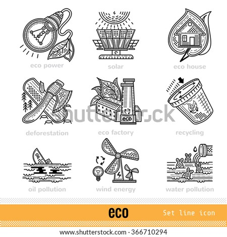 Set of Eco Outline Web Icons - stock vector