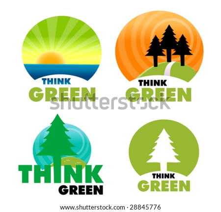 set of eco signs - stock vector