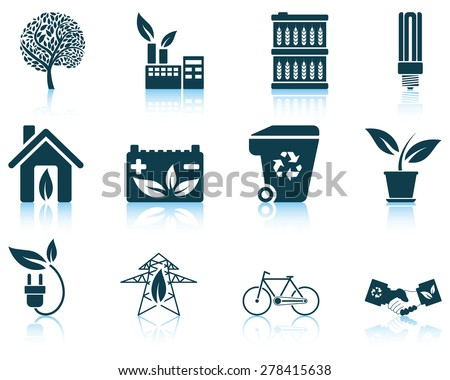 Set of ecological icon. EPS 10 vector illustration without transparency. - stock vector