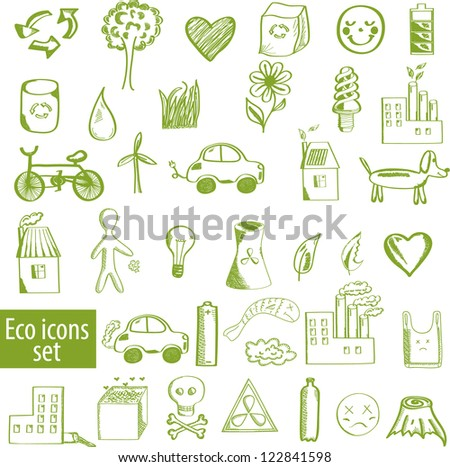 Set of ecological icons - stock vector