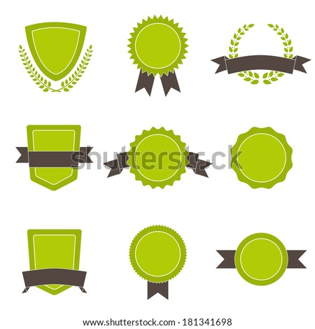 Set of ecology badges, shields and wreaths. - stock vector