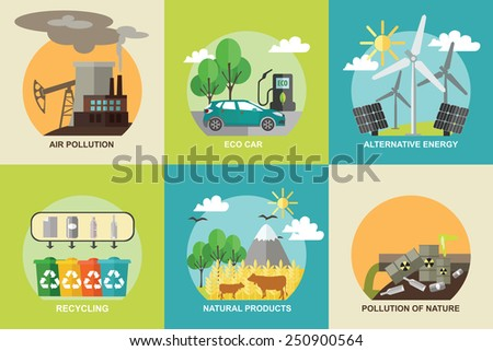 Set of ecology concepts. Air pollution, eco car, alternative energy, recycling, natural products, pollution of nature. Flat style design. Vector illustration. - stock vector