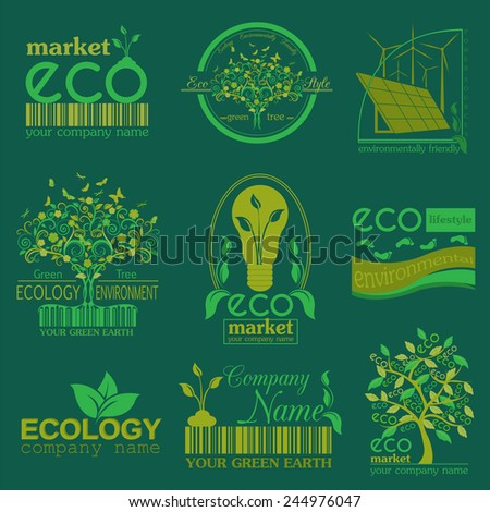 Set of ecology, environment and recycling logos. Vector logo templates and badges