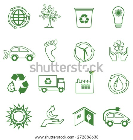 Set of 16 ecology/environment icons. Line design. - stock vector