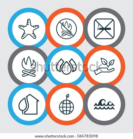 Set 9 Ecofriendly Icons Includes Home Stock Illustration 558042886 ...