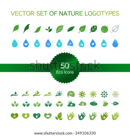 Set of 50 ecology icons, nature logo, biology symbols from leaves and hand, sun and snow, drop and heart. Vector - stock vector