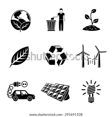 Set of ECOLOGY icons with - recycle sign, green earth, leaf, garbage disposal, wind power station, plant, solar power station, light bulb, electro car. Vector - stock vector