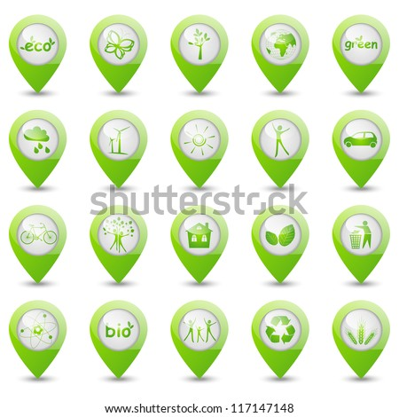 Set of ecology map pointers - stock vector