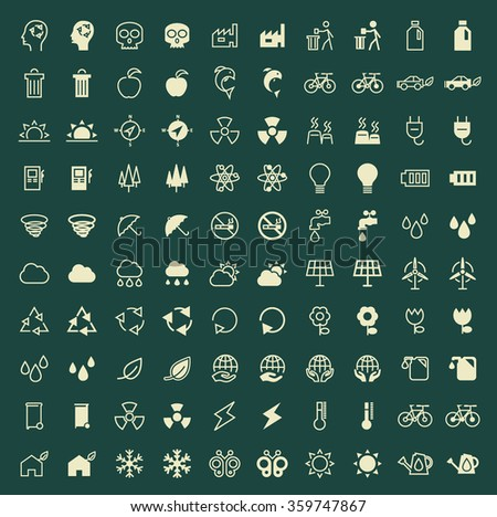 Set of 100 Ecology Minimal and Solid Icons. Vector Isolated Elements.
