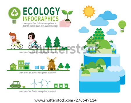 set of ecology modern flat icon , eco infographic Concept, Elements  flyer design for website, magazine,illustration - vector  - stock vector