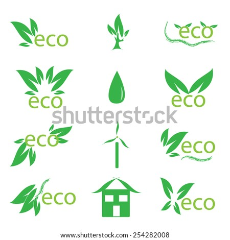 set of ecology symbols, design elements