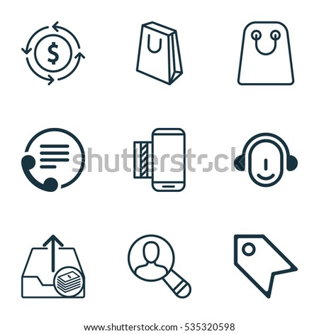 Set Of 9 Ecommerce Icons. Includes Spectator, Tote Bag, Telephone And Other Symbols. Beautiful Design Elements.