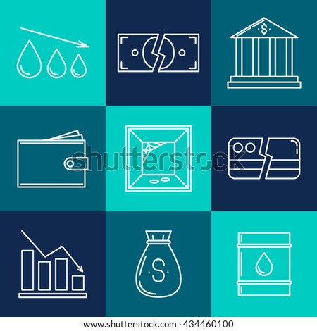 Set of economy crisis icons. Vector illustration - stock vector