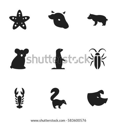 Set 9 Editable Animal Icons Includes Stock Vector 583600576