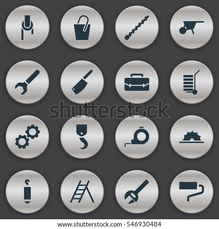 Set Of 16 Editable Apparatus Icons. Includes Symbols Such As Sheave, Handle , Handcart. Can Be Used For Web, Mobile, UI And Infographic Design.