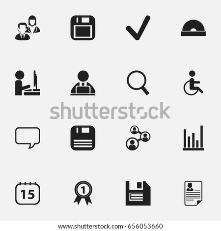 Set Of 16 Editable Bureau Icons. Includes Symbols Such As Handicapped, Workman In Laptop, Control. Can Be Used For Web, Mobile, UI And Infographic Design.