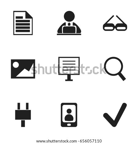 Set Of 9 Editable Bureau Icons. Includes Symbols Such As Workman In Laptop, Blank, Socket And More. Can Be Used For Web, Mobile, UI And Infographic Design.