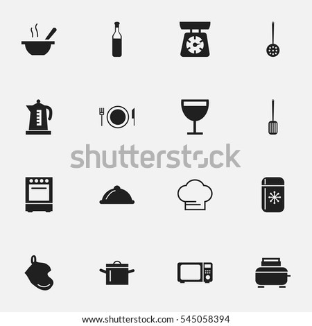 Set Of 16 Editable Cook Icons. Includes Symbols Such As Kitchen Shovel, Toaster, Wave Oven And More. Can Be Used For Web, Mobile, UI And Infographic Design.