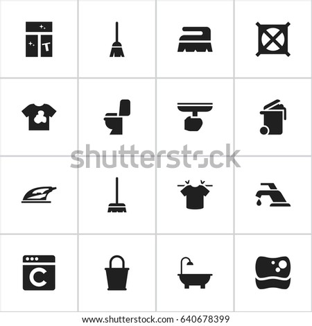 Set 16 Editable Drycleaning Icons Includes Stock Vector 640678399