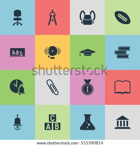 Set Of 16 Editable Education Icons. Includes Symbols Such As Ring, School Bell, Alarm Bell And More. Can Be Used For Web, Mobile, UI And Infographic Design.