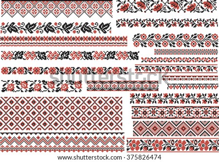 Set of editable ethnic patterns for embroidery stitch in red and black