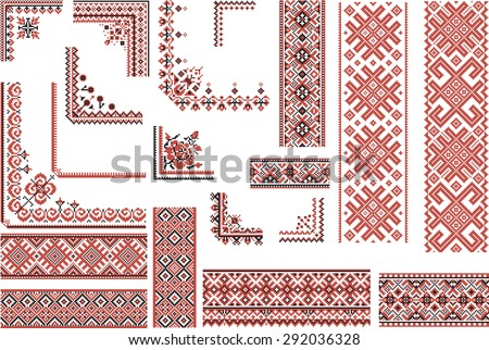 Set of editable ethnic patterns for embroidery stitch in red and black. Borders and corners. - stock vector