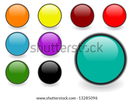 Set of editable glossy web buttons