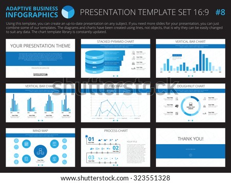 Set of editable infographic presentation templates with graphs and charts on white background - stock vector