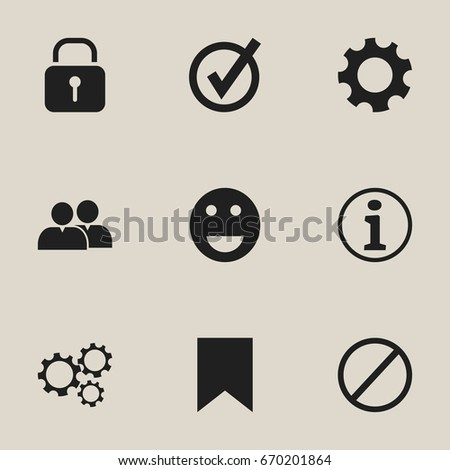 Set Of 9 Editable Internet Icons. Includes Symbols Such As Emoji, Tag, Settings And More. Can Be Used For Web, Mobile, UI And Infographic Design.