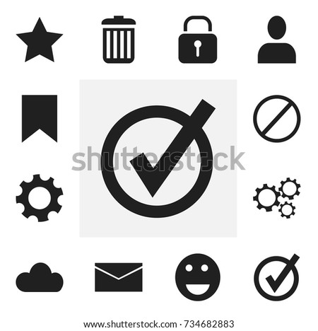 Set Of 12 Editable Internet Icons. Includes Symbols Such As Profile, Bookmark, Recycle Bin And More. Can Be Used For Web, Mobile, UI And Infographic Design.