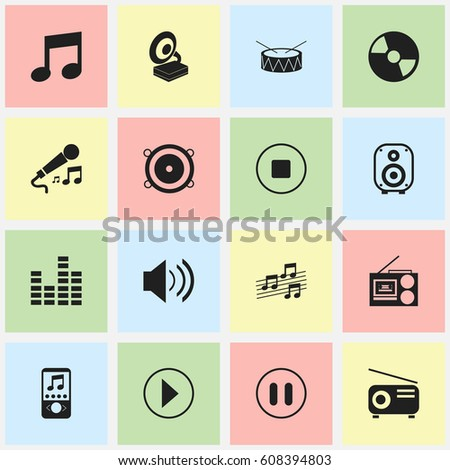 Set Of 16 Editable Multimedia Icons. Includes Symbols Such As Snare, Media Fm, Music And More. Can Be Used For Web, Mobile, UI And Infographic Design.
