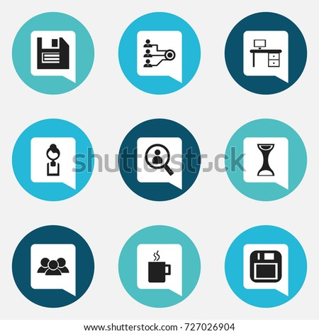 floppy office. set of 9 editable office icons includes symbols such as floppy desk s