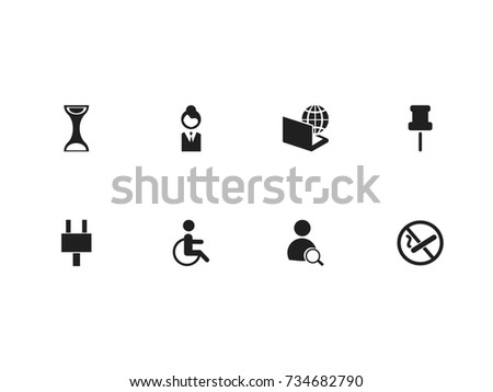 Set Of 8 Editable Office Icons. Includes Symbols Such As Globe, Search, Smoking Forbidden And More. Can Be Used For Web, Mobile, UI And Infographic Design.