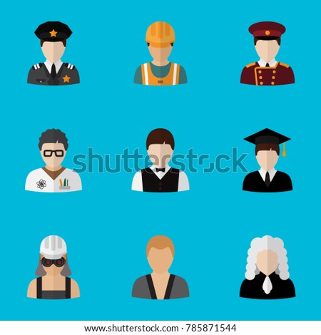 Set of 9 editable profession icons flat style. Includes symbols such as officer, scientist, laborer and more. Can be used for web, mobile, UI and infographic design.
