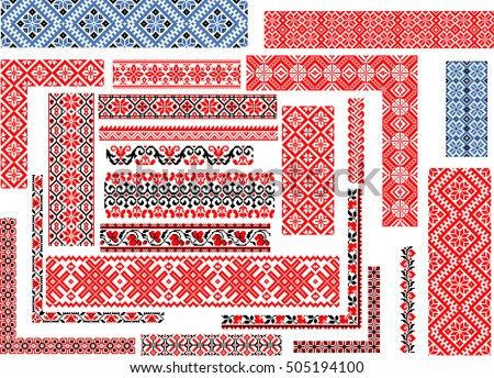 Set of editable seamless ethnic patterns for embroidery stitch in red and black. Corners, borders, frames.