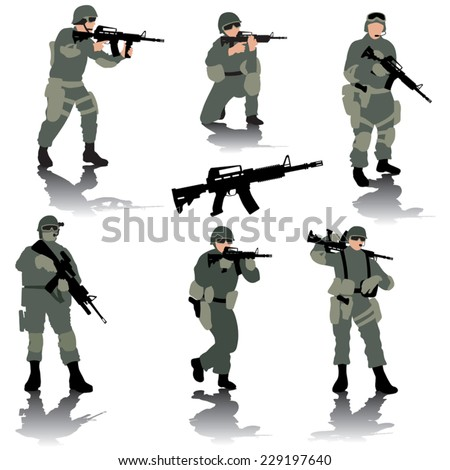 Set of editable silhouettes of modern soldiers. Vector illustration - stock vector