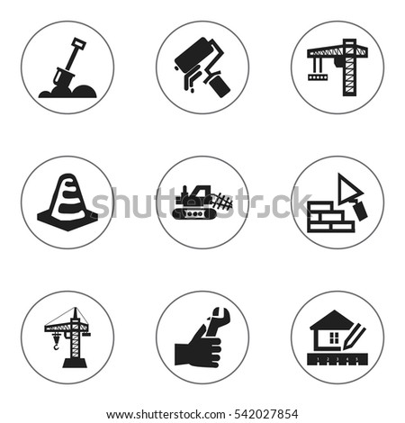 Set Of 9 Editable Structure Icons. Includes Symbols Such As Home Scheduling, Facing, Oar And More. Can Be Used For Web, Mobile, UI And Infographic Design.