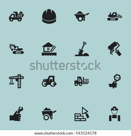 Set Of 16 Editable Structure Icons. Includes Symbols Such As Truck, Lifting Equipment, Endurance And More. Can Be Used For Web, Mobile, UI And Infographic Design.