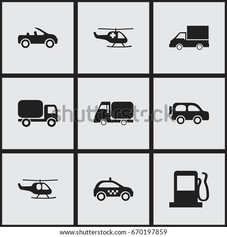 Set 9 Editable Transportation Icons Includes Stock Vector 670197859