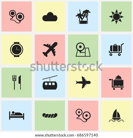 Set Of 16 Editable Travel Icons. Includes Symbols Such As Cableway, Wristwatch, Cart And More. Can Be Used For Web, Mobile, UI And Infographic Design.