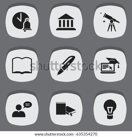 Includes Symbols Such As Distance Learning, Lamp,
