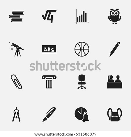Set 16 Editable University Icons Includes Stock Vector 2018