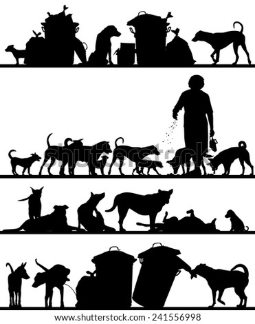 Set of editable vector foreground silhouettes of street dogs in Bangkok with all figures as separate objects - stock vector