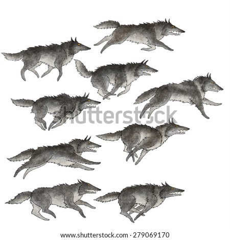 Set of editable vector illustration of a wolf pack, nine different running wolves - stock vector